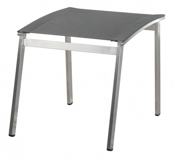 Diamond Garden Fußhocker Monaco, Edelstahl/DiGaLan®-Textilene, schwarz/silber
