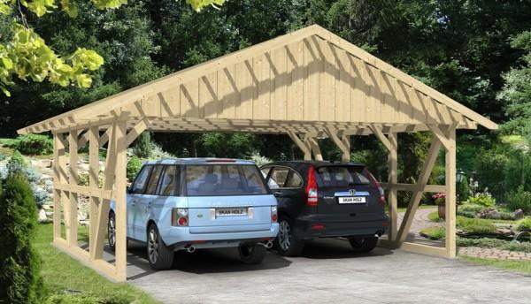 Skan Holz Fachwerk-Carport Schwarzwald, Konstruktionsvollholz, 684 x 600 cm, mit Dachlattung