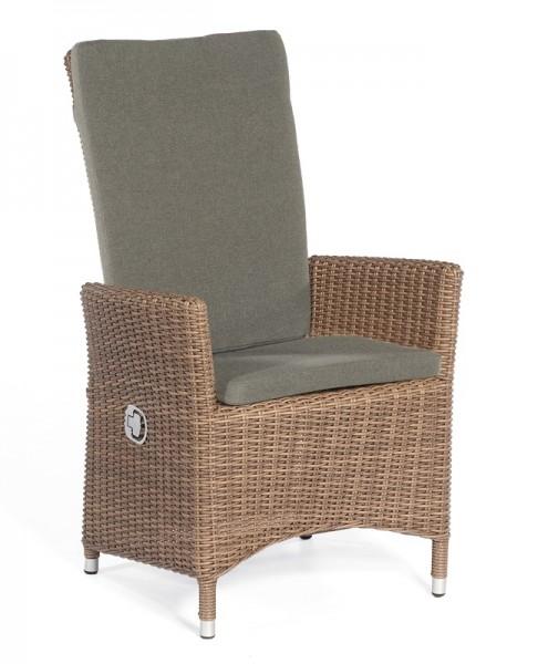 Sonnenpartner Sessel Solares, Aluminium/Kunststoffgeflecht rustic-stream,inkl.Sitz- und Rückenkissen
