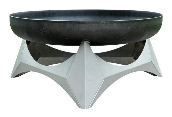 SvenskaV Design Feuerschale ARKA, Größe L, Basis Edelstahl / Schale Stahl, Ø 45 cm