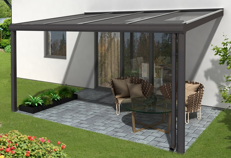 skan holz aluminium-terrassenüberdachung modena 434 x 357 cm,