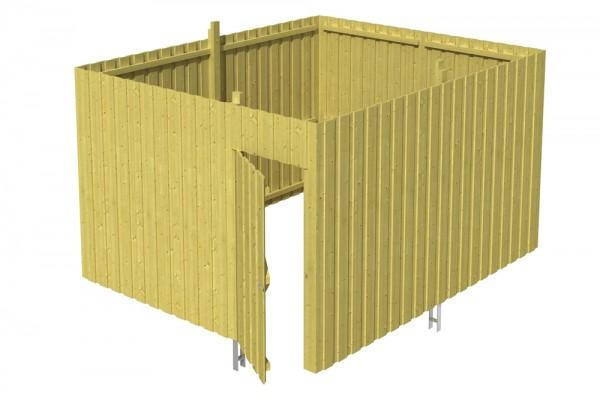 Skan Holz Abstellraum A4, impr. Nadelholz, Deckelschalung, 378 x 317 cm