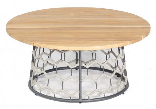Sonnenpartner Lounge-Tisch Yale, Aluminium / Kunststoffgeflecht Polyrope silbergrau / Teakholz