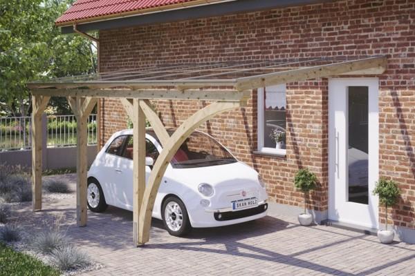 Skan Holz Wandanbau-Carport Eifel, Leimholz, 541 x 300 cm, 16 mm Doppelstegplatten