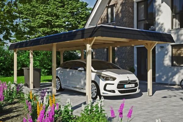 Skan Holz Walmdach-Carport Wendland, Leimholz, 362 x 870 cm, Aluminium-Dachplatten