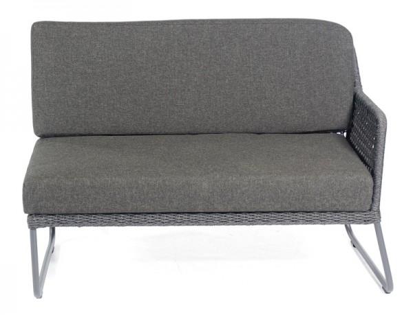 Sonnenpartner Lounge-Eckmodul Poison, 2-Sitzer rechts, Alu anthr./Polyrope dunkelgrau, inkl. Kissen