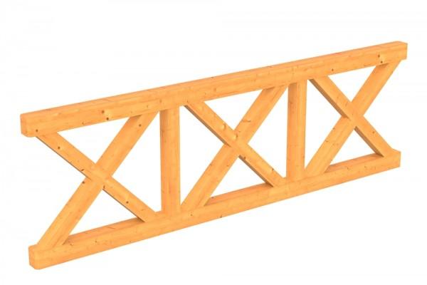 Skan Holz Brüstung 270 x 84 cm, Andreaskreuz, für Douglasien-Terrassenüberdachungen