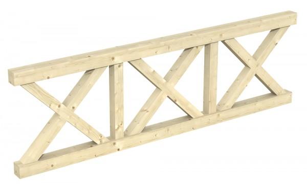 Skan Holz Brüstung 270 x 84 cm, Andreaskreuz, für Pavillons Cannes und Orleans Größe 1