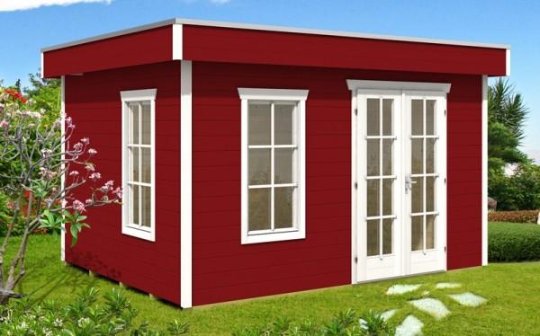 Skan Holz Gartenhaus Breda 1, 380 x 300 cm, 28 mm, schwedenrot