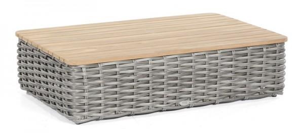 Sonnenpartner Lounge-Tisch Sands, Kunststoffgeflecht, charcoal / Teakholz, 120 x 80 cm
