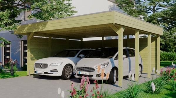 Skan Holz Flachdach-Carport Friesland 557 x 555 cm, Aluminium-Dachplatten, mit Seiten- und Rückwand