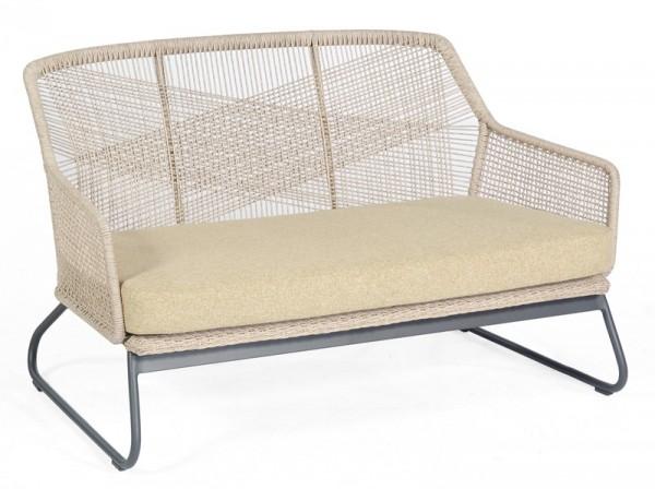 Sonnenpartner Lounge-Sofa Couture, Aluminium anthrazit / Kunststoffgeflecht white-shell