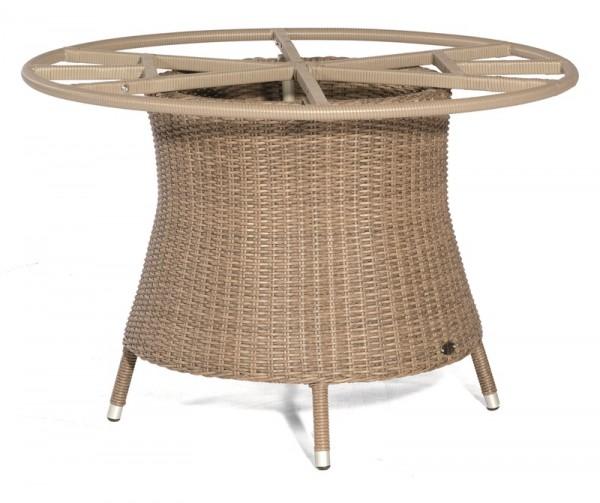 Sonnenpartner Tisch Base-Polyrattan rund, Kunststoffgeflecht rustic-stream, Ø 134 cm