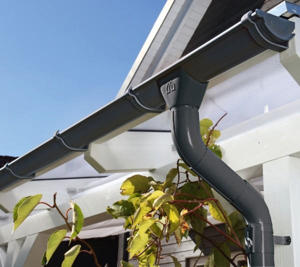 Skan Holz Metall-Regenrinnen-Set 648 cm Länge, anthrazit, 2er-Set für Satteldach-Carports
