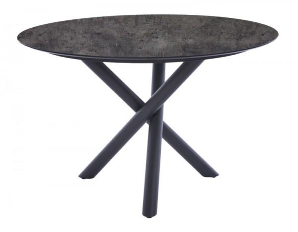Diamond Garden Tisch San Marino rund, Edelstahl, dunkelgrau/Beton dunkel, Ø 120 cm