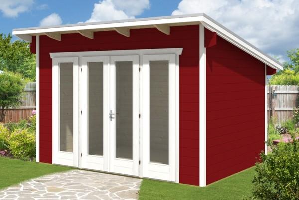 Skan Holz Gartenhaus Ostende 1, 350 x 250 cm, 28 mm, schwedenrot