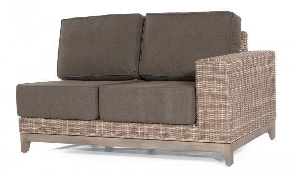 Sonnenpartner Lounge-Eckmodul Thor, 2-Sitzer rechts, Alu/Kunststoffgeflecht white-coral,inkl. Kissen