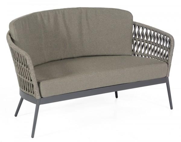 Sonnenpartner Lounge-Sofa Advokat, Aluminium anthrazit / Polyrope grau, inkl. Kissen