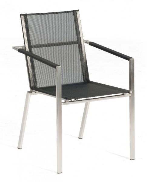 Sonnenpartner Stapelsessel Platinum Edelstahl, schwarz