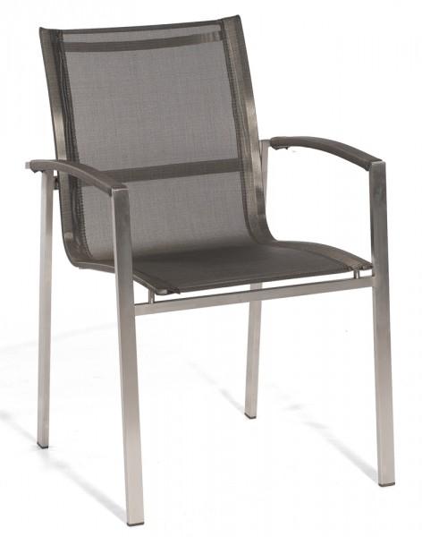 Sonnenpartner Stapelsessel niedrig Millenium Edelstahl, metallic-grau