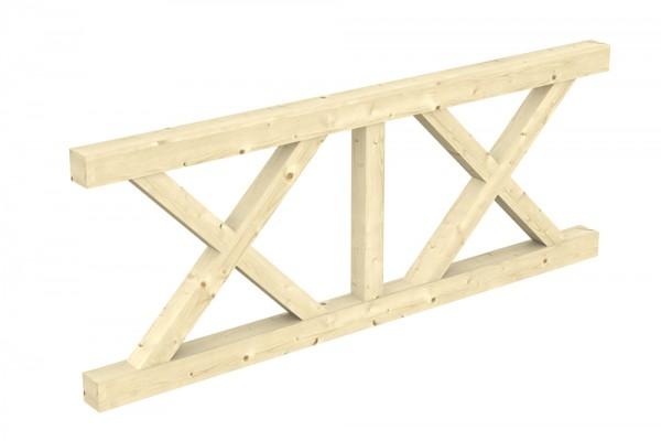 Skan Holz Brüstung 220 x 84 cm, Andreaskreuz, für Leimholz-Terrassenüberdachungen