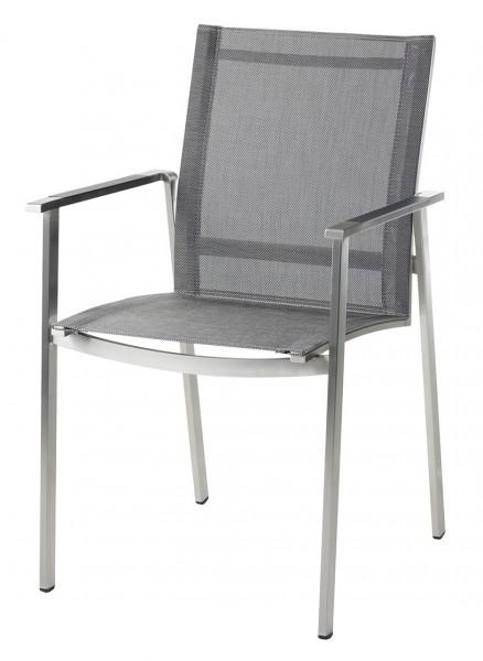 Diamond Garden Stapelstuhl Monaco, Edelstahl/DiGaLan®-Textilene, schwarz/silber