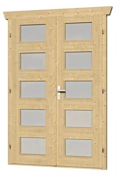 Skan Holz Doppeltür 123,4 x 193 cm für 28 mm Blockbohlen, Milchglas