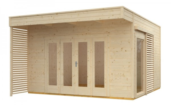 Skan Holz Gartenhaus Tokio 4, 402 x 402 cm, doppelschalig, unbehandelt
