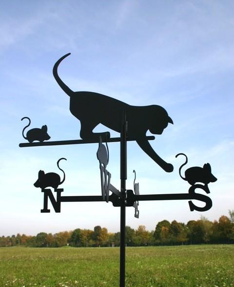 SvenskaV Wetterfahne Katz und Maus klein, schwarz