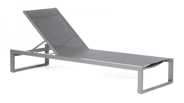Sonnenpartner Liege Argos, Aluminium anthrazit / Textilgewebe schwarz-silber