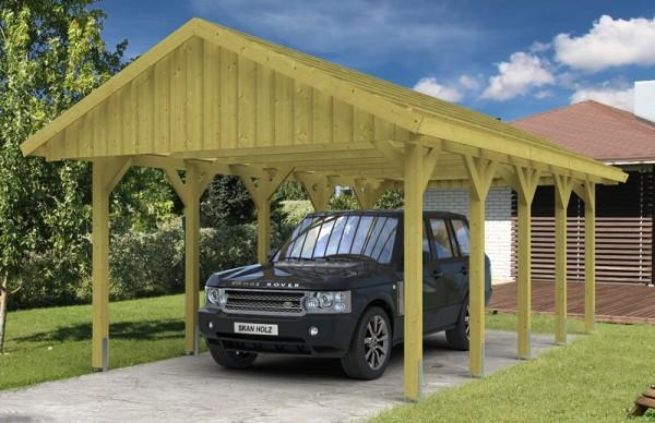 Skan Holz Satteldach-Carport Sauerland 430 x 750 cm, imprägniert, mit Dachlattung