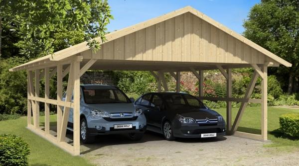 Skan Holz Fachwerk-Carport Schwarzwald, Konstruktionsvollholz, 684 x 772 cm, mit Dachschalung