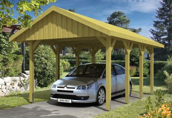 Skan Holz Satteldach-Carport Sauerland 380 x 600 cm, imprägniert, mit Dachschalung