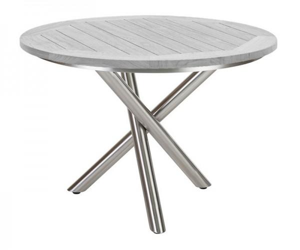 Diamond Garden Tisch San Marino rund, Edelstahl/Recycled Teak Seawash, Ø 120 cm