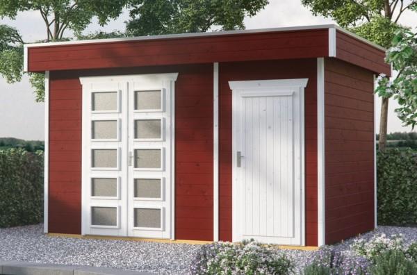 Skan Holz Gartenhaus Venlo 3, 380 x 250 cm, 28 mm, schwedenrot