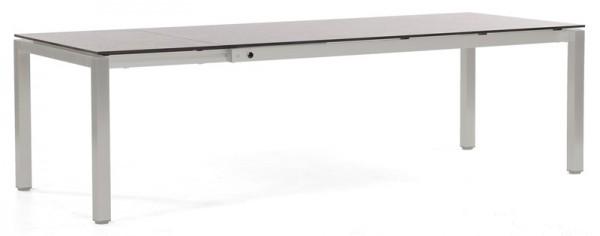 Abbildung zeigt den Tisch in der Größe 200/260 x 100 cm mit Tischplatte in beton-hell.