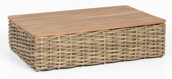 Sonnenpartner Lounge-Tisch Sands, Kunststoffgeflecht, Light Oaks / Teakholz, 120 x 80 cm