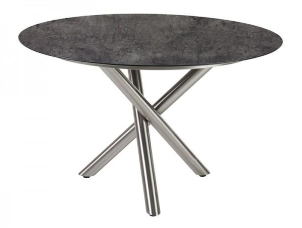 Diamond Garden Tisch San Marino rund, Edelstahl/Beton dunkel, Ø 120 cm