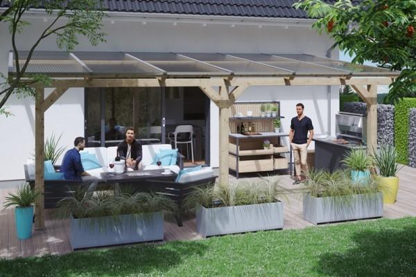 Abgebildete Gartenmöbel und Dekoration nicht im Lieferumfang enthalten.
