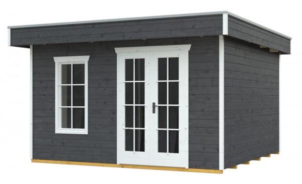 Skan Holz Gartenhaus Breda 2, 380 x 380 cm, 28 mm, schiefergrau