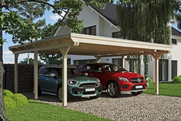 Skan Holz Flachdach-Carport Emsland, Leimholz, 613 x 604 cm, Aluminium-Dachplatten