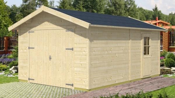 Skan Holz Holzgarage Varberg 1, 45 mm, 370 x 525 cm, unbehandelt