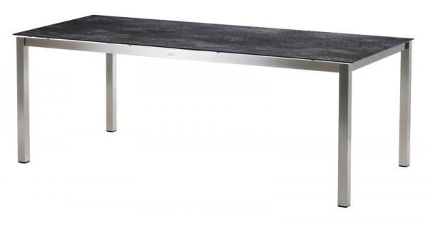 Diamond Garden Tisch San Marino, Edelstahl/Granit dunkel, 200 x 100 cm