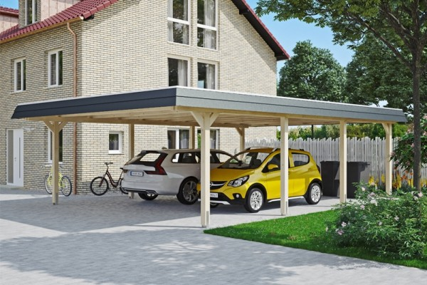 Skan Holz Walmdach-Carport Wendland, Leimholz, 630 x 879 cm, Aluminium-Dachplatten