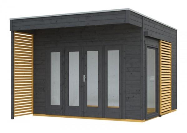 Skan Holz Gartenhaus Tokio 2, 340 x 340 cm, doppelschalig, schiefergrau