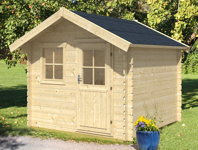 Skan Holz Gartenhaus Porto 2, 250 x 250 cm, 28 mm, unbehandelt
