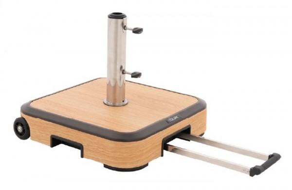 Doppler Schirmständer / Trolley-Schirmsockel Alu-Wood, 50 kg mit Zuggriff, bis 60 mm ø