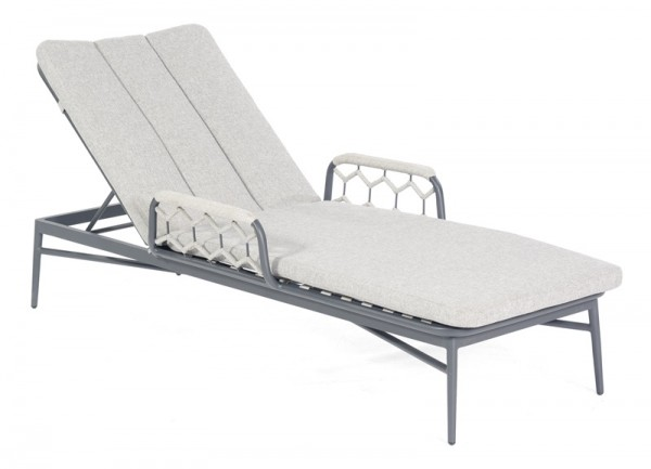 Sonnenpartner Liege Yale, Aluminium / Kunststoffgeflecht Polyrope silbergrau, inkl. Kissen