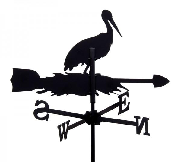 SvenskaV Wetterfahne Storch klein, schwarz