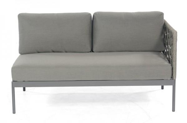 Sonnenpartner Lounge-Eckmodul Vogue, 2-Sitzer rechts, Aluminium / Polyrope grau, inkl. Kissen